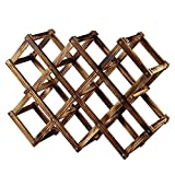 Foldable Wood Wine Rack Wine Holder Storage Display Stand Wood 10-Bottle Wine Rack (Fire Color)