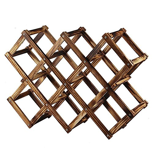 Foldable Wood Wine Rack Wine Holder Storage Display Stand Wood 10-Bottle Wine Rack (Fire Color) by LI-GELISI