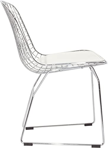 Modway CAD Modern Wire Frame Faux Leather Upholstered Kitchen and Dining Room Chair