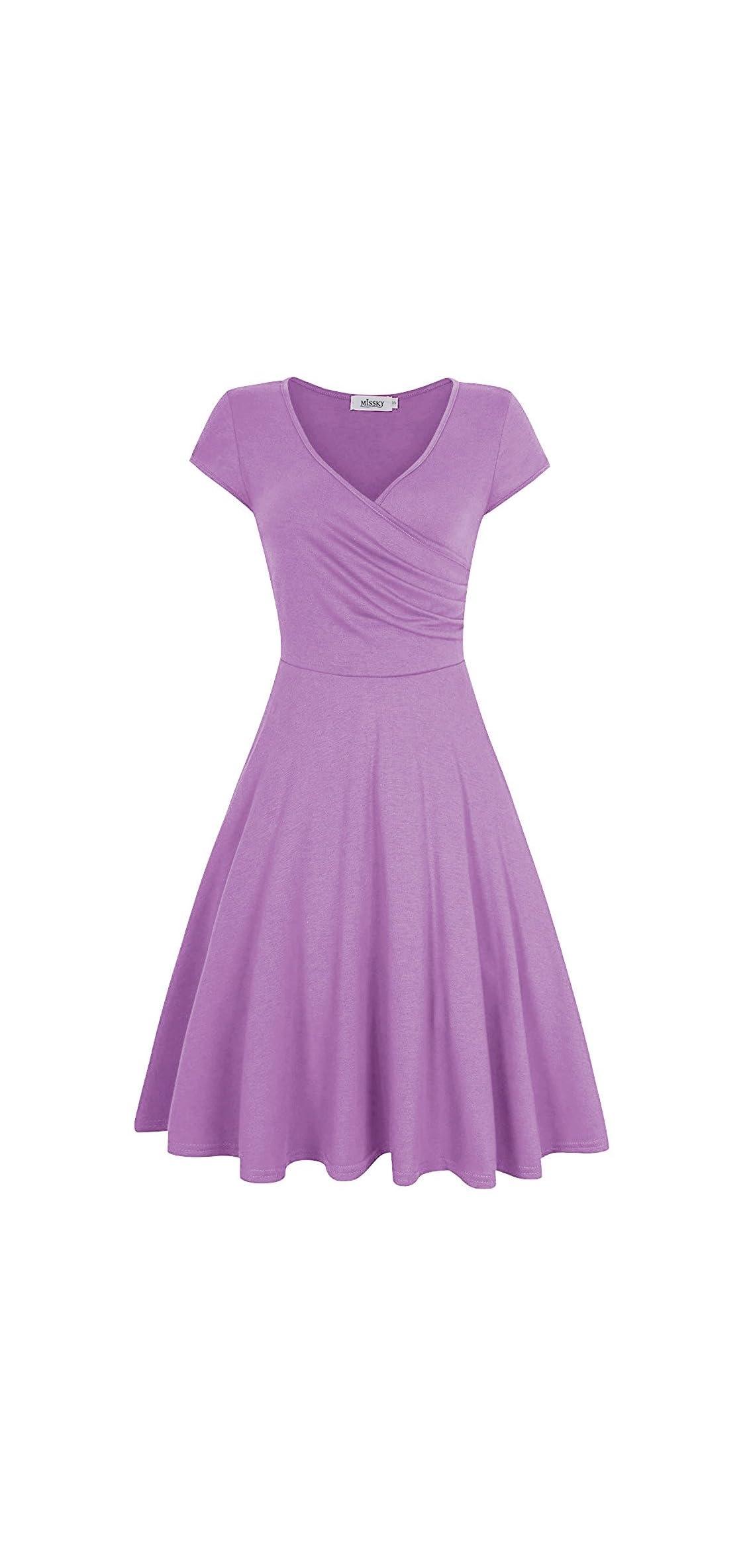 Women V Neck Slim Knee Length Swing Elegant Casual Dress