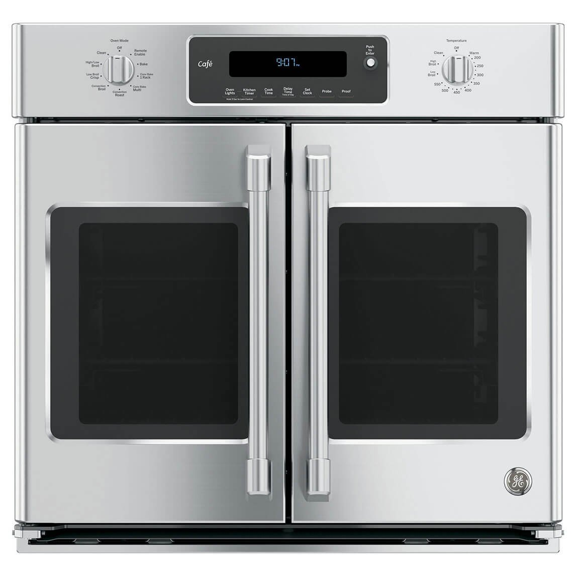GE Cafe CT9070SHSS 30'' Single French Door Electric Wall Oven with Self-Clean in Stainless Steel