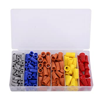180pcs Electrical Wire Connectors Screw Terminals /&Spring Insert Nuts Twist Cap