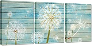 ZingArts Teal Art Home Decor 3 Pieces Flower Canvas Wall Art White Dandelion on Blue Wood Background Neutral Floral Picture Stretched and Framed for Rustic Home Decor Ready to Hang 12x16inchx3pcs