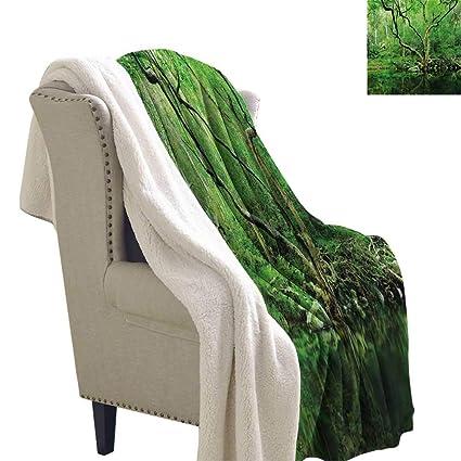 18716c8d289ae Amazon.com: Green Lightweight Microfiber Blankets 60x32 Inch Forest ...