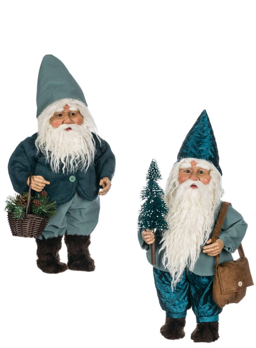 Sullivans Christmas Elf Figurines, Blue and Brown Gnome Elves, 20'' Tall Each, Blue Green, Set of 2 (PN2758)
