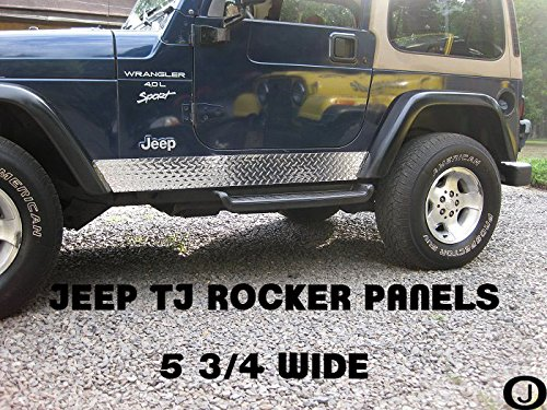 (Jeep TJ Wrangler Diamond Plate Side Rocker Panels 5 3/4