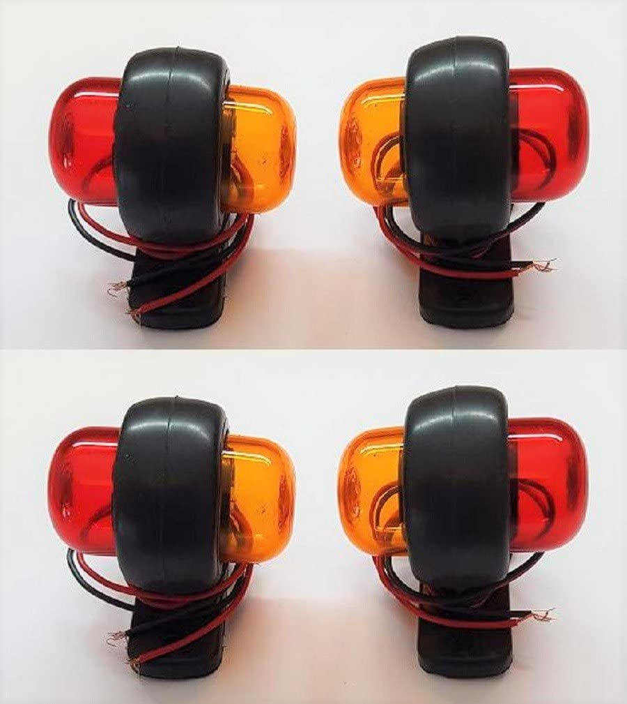 VNVIS 4/x 12/V Rot Orange LED Side Marker Lights Lams Truck Bus Traktor Van Caravan Camper Wohnmobil