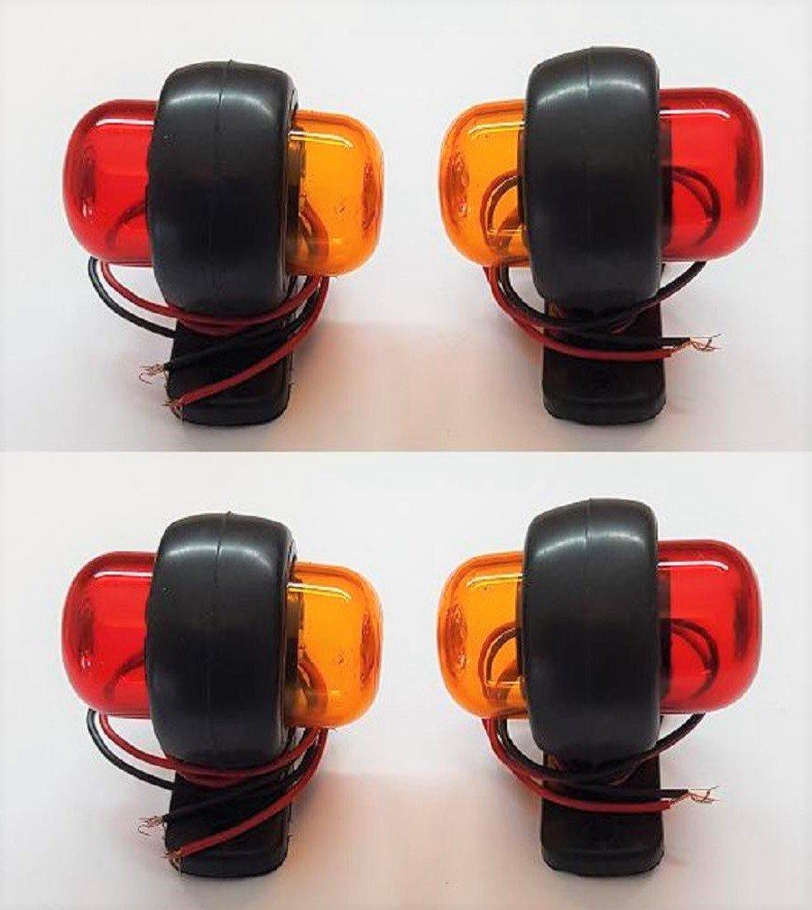 VNVIS 4/x 12/V Rouge Orange LED Lat/érales Feux de gabarit Lams Camion Tracteur Bus Van Caravane Camper Camping-Car