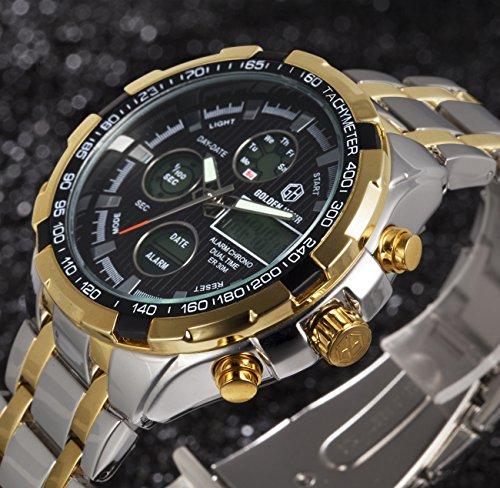 Tamlee Luxury Full Steel Heavy Analog Digital Watches Men Led Male Clock Men Military Wristwatch
