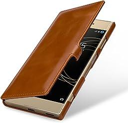 StilGut Book Type avec Clip, Housse en Cuir pour Sony Xperia XA1 Plus. Etui de Protection pour Sony Xperia XA1 Plus à Ouverture latérale avec Fermeture clipsée, Cognac