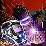 Solar Power Auto-Darkening Welding Helmet Adjustable MIG TIG ARC Welder Hood Mask(Blue Star)