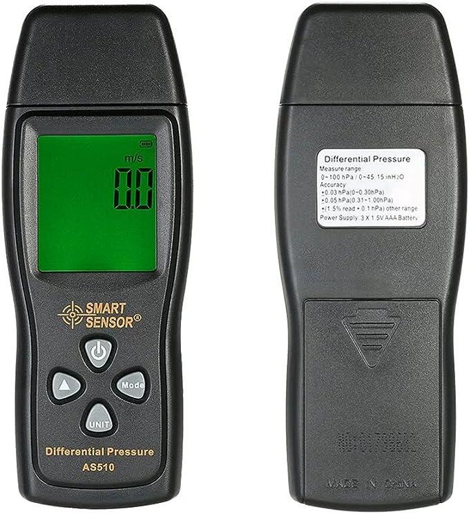 Capteur de pression diff/érentielle num/érique SMART SENSOR AS510 Compteur de pression n/égative /à manom/ètre H2O num/érique 0-100 hPa 0-45.15