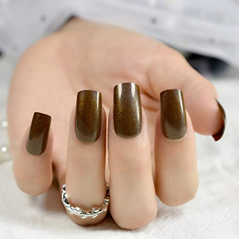 Amazon.com : CoolNail 24pcs Medium False Nails Square Head Acrylic Fake Nail Glitter Brown Full Cover Nail Tips Finger Art : Beauty