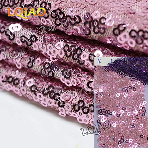 Pack of 10PCS,High Quality Sparkly 120-Inch Round Sequin Tablecloth Pink Gold Sequin Table Overlay,Cake Sequin Tablecloths,Sequin Linens for Wedding by LQIAO (Image #4)