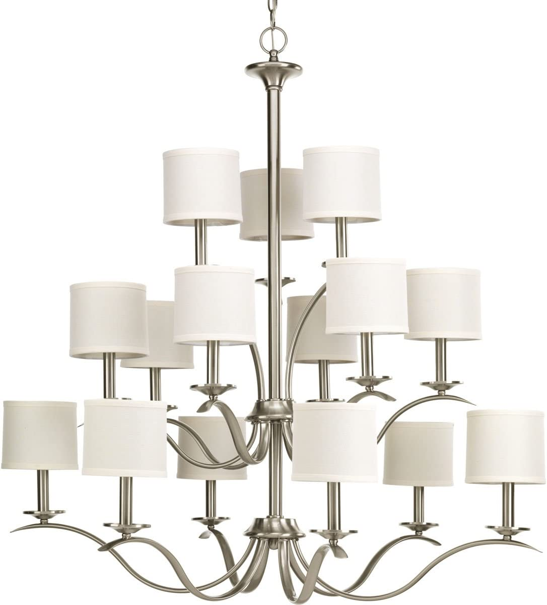 Progress Lighting P4650-09 Transitional 15 Light Chandelier from Inspire Collection in Pwt, Nckl, B S, Slvr. Finish, Brushed Nickel