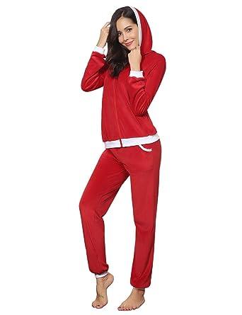 d0dfde21ec Aibrou Women Velour Tracksuit Fashion Long Sleeve/Crop Tops + Long/Short  Pants 2 Piece Set Velvet Pajamas Sleepwear