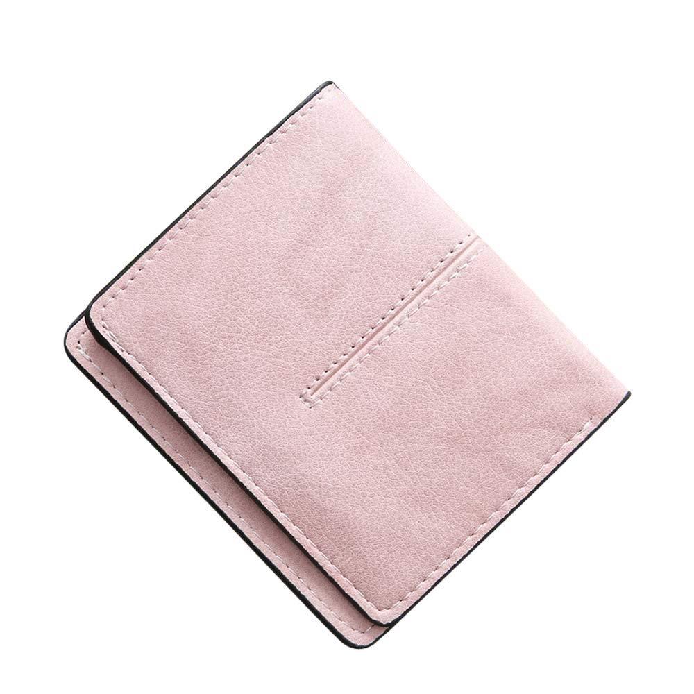 Fashion99 Women Retro Hasp Short Wallet Solid Color Purse Card Holders Handbag