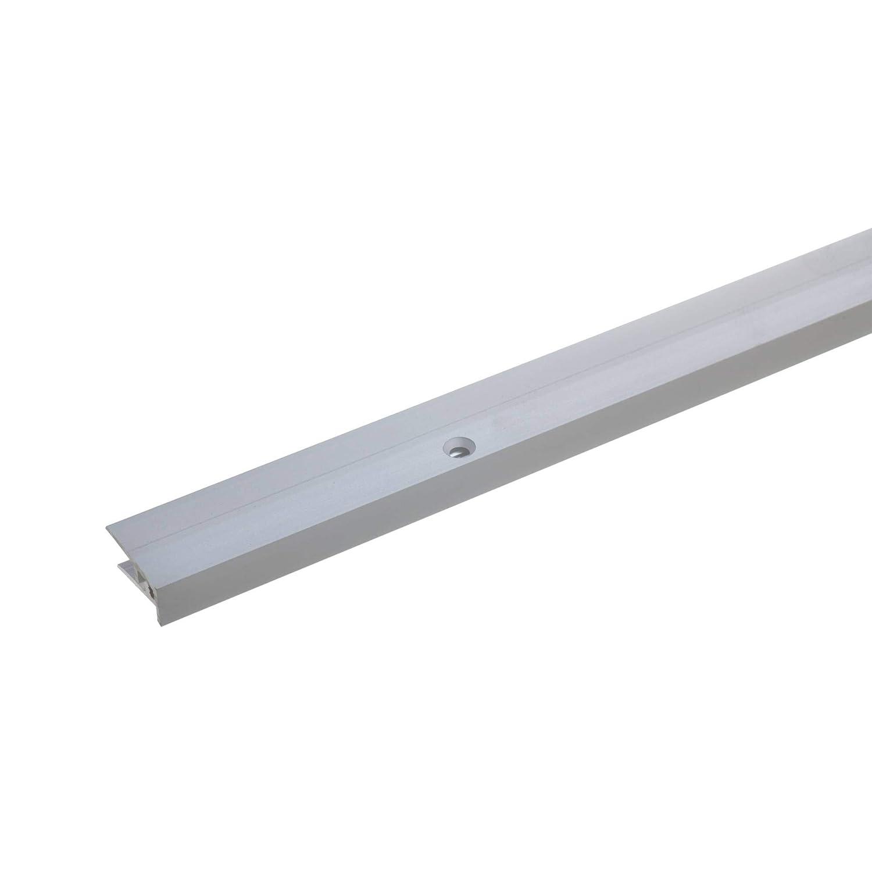 acerto 37164 Aluminium Abschlussprofil 2- teilig Aluprofil als professionelles Wandanschlussprofil silber 5-9mm gebohrt * Robust * Leichte Montage Wand-Abschlussleiste f/ür Laminat 100cm
