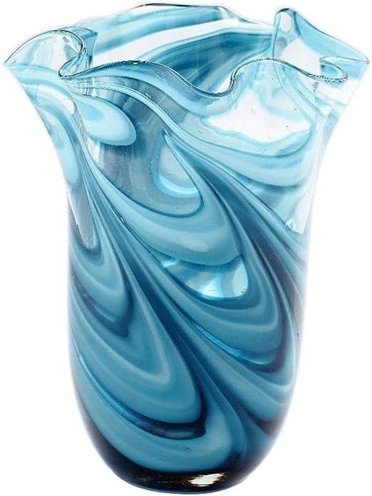 "New 10/"" Hand Blown Art Glass Teardrop Vase Bottle Blue Decorative"