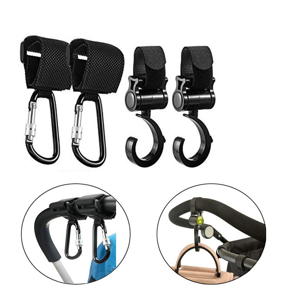 4 Pack Stroller Hooks, Oneup Multi Purpose Stroller Hooks Clips Hanger for Baby Diaper Bags Grocery Bag, Clothing, Purse