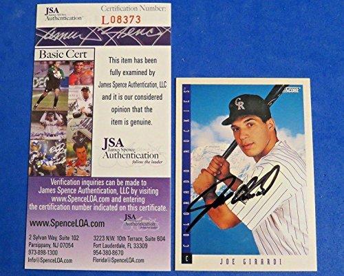 (JOE GIRARDI SIGNED 1993 SCORE BASEBALL CARD #419 ~ Cert L08373 ~ AUTOGRAPH ~ - JSA Certified - MLB Autographed Baseball)