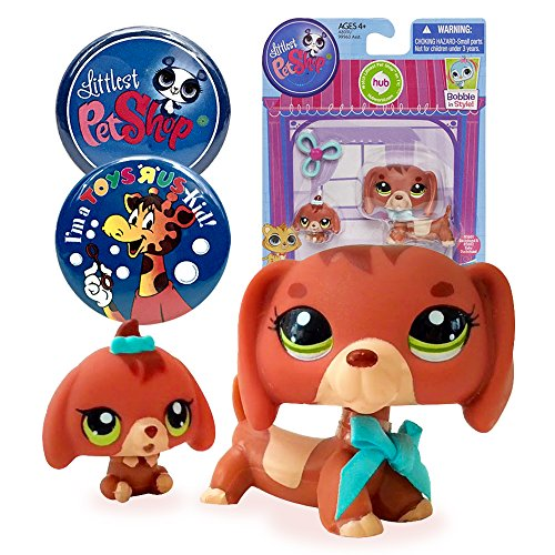 Littlest Pet Shop Pet Dachshund and Baby Dog # 3601 with LPS and Toys R Us Kid Exclusive Party Favor Souvenir Collectible - Mommy Littlest And Shop Baby