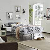 Modway Horizon Full Bed Frame In Silver - Replaces Box Spring - Folding Portable Metal Mattress Bed Frame With Storage - Low Profile - Heavy Duty