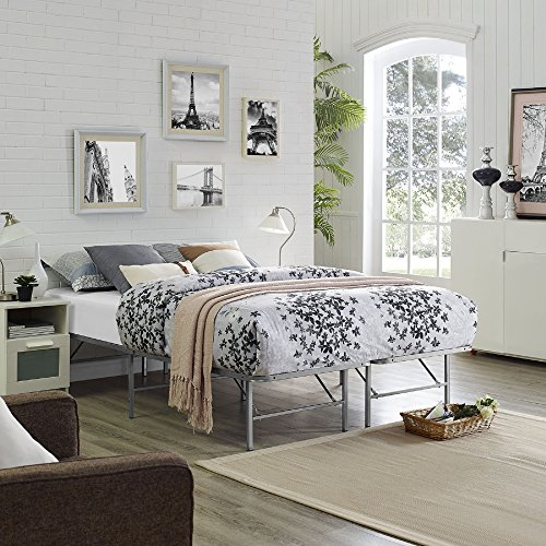 Modway Horizon Full Bed Frame in Silver - Replaces Box Sprin