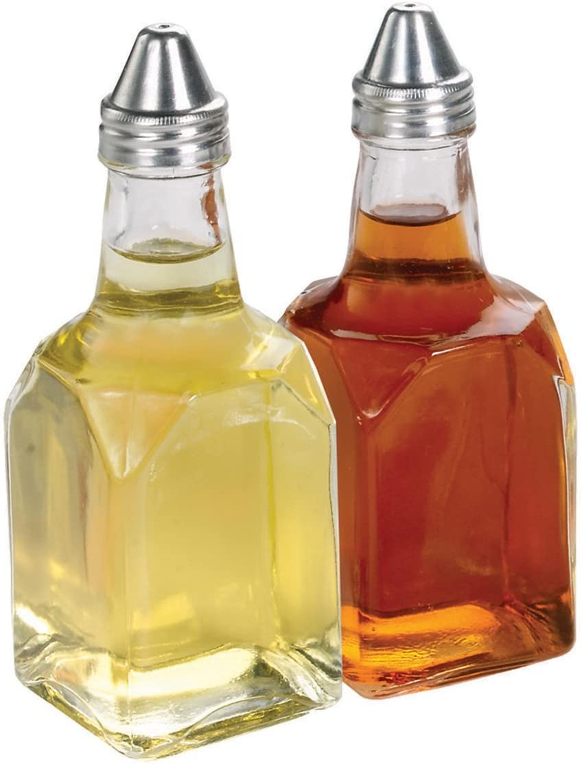 Home Basics Oil and Vinegar Glass Bottle, Clear, 2 Piece (Pack of 1)