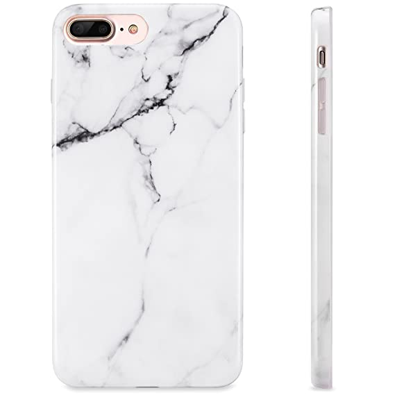 dd7e35d9bd7 KINFUTON CV1 Blanco iPhone 7 Plus Funda Diseño de mármol, iPhone 8 Plus  Funda,