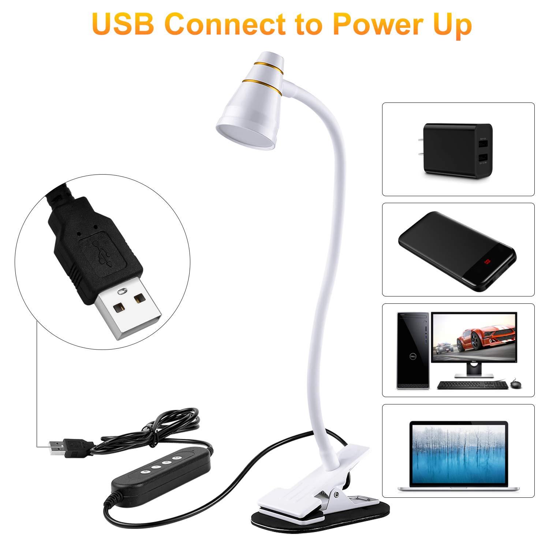 Estudio Negro para la Oficina Trabajo Lectura PinShare Home L/ámpara de Lectura LED USB con Clip- L/ámpara de Escritorio de Mesa de 5W Iluminaci/ón con 3 Modos de Luminosidad Hogar