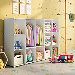 KOUSI Portable Wardrobe Closet for Bedroom Clothes Armoire Dresser Cube Storage Organizer, 11 Cubes&2 Hanging Sections