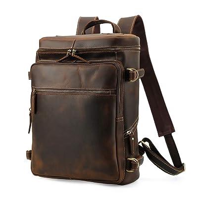 Vintage Cowhide Leather Casual Travel Backpack Shoulder Bag