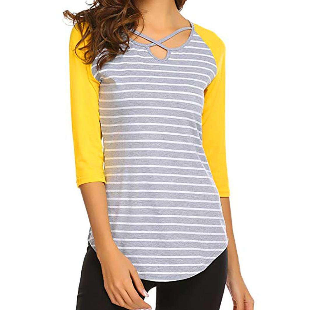UONQD Women's V Neckline Self Tie Short Sleeve Blouse Tops(Medium,Yellow) by UONQD (Image #1)