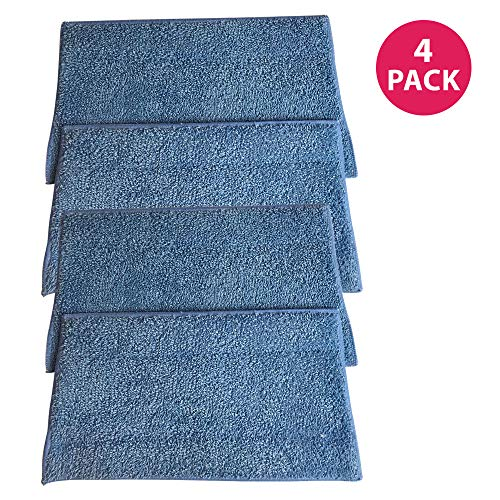 (Crucial Vacuum Replacement Mop Pads Part # RMF2, RMF2P, RMF2X, RMF4X, RMF4, RMF-4 - Compatible with Haan - Fit BS10, BS20, HD50, MS30, MS30R, MS35, SI25, SI35, SI35G, SI35R, SI35BCRF,- Bulk (4 Pack))