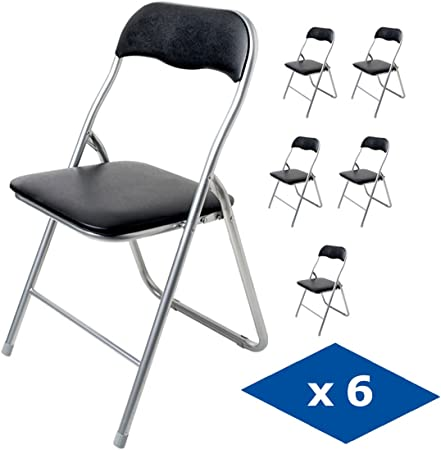 Pack de 6 sillas plegables de piel sintética y estructura de metal, ideales para utilizar como asien