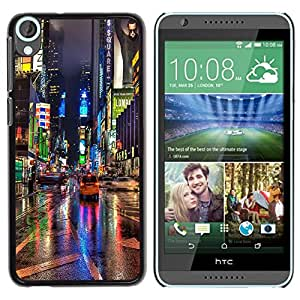 Be Good Phone Accessory // Dura Cáscara cubierta Protectora Caso Carcasa Funda de Protección para HTC Desire 820 // Broadway Street City New York Rain Lights