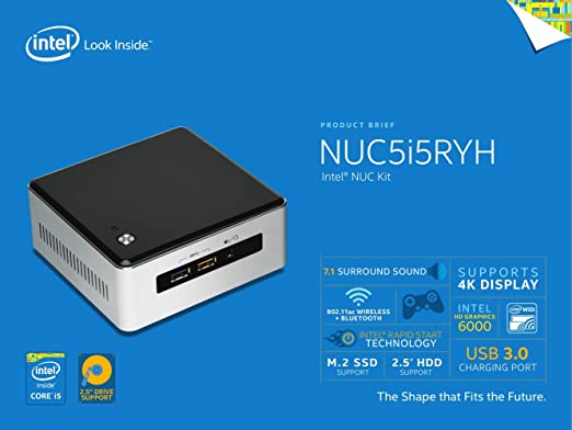 Amazon.com: Intel Nuc Desktop/HTPC, 5th Generation Intel Dual-Core i5 Upto 2.7GHz, 8GB DDR3, 240GB SSD, Wifi, Bluetooth, Dual Monitor Capable, 4K Support, ...