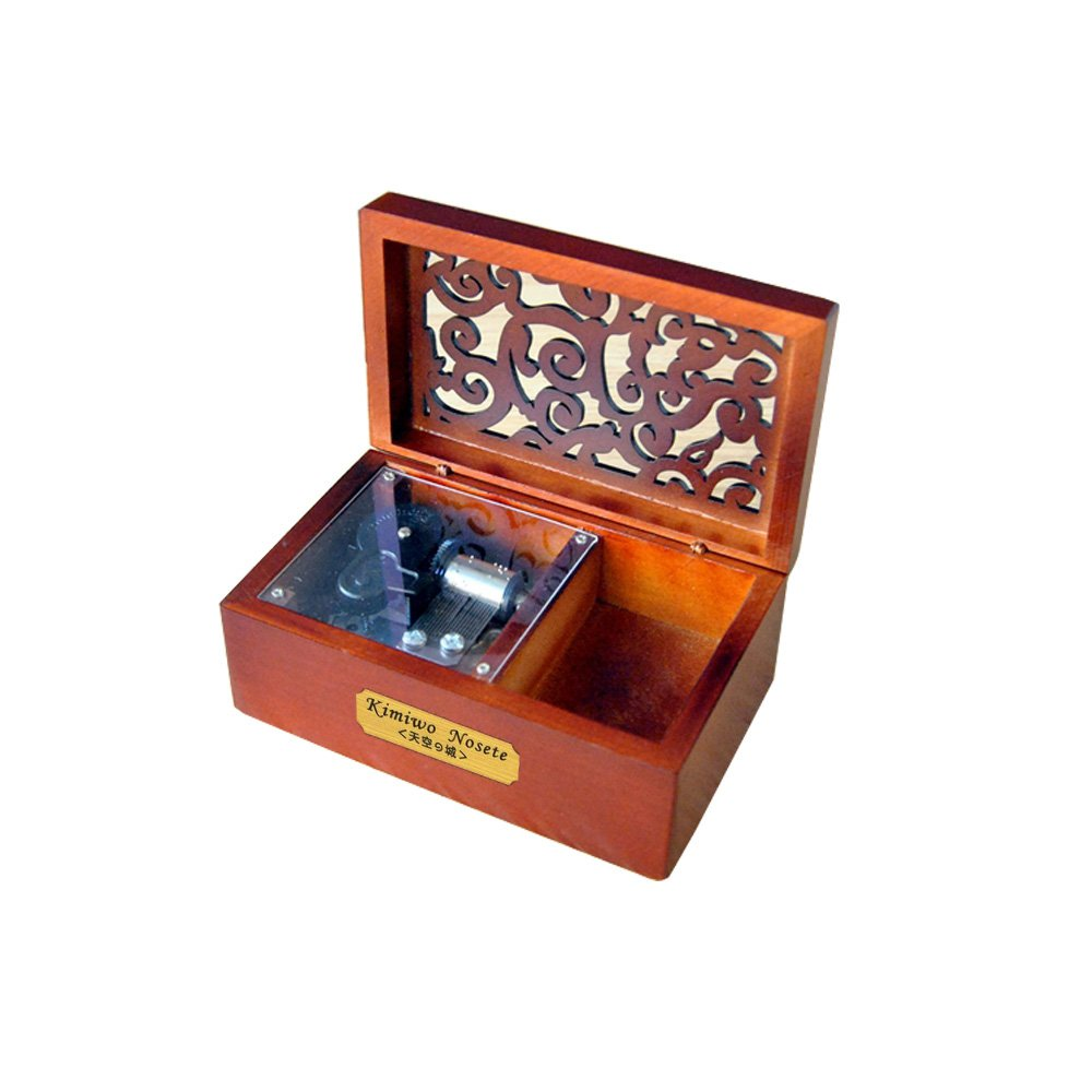 YouTang Creative Hollow Wood 18-Note Wind-up Musical Box,Musical Toys,Tune:Kiss The Rain