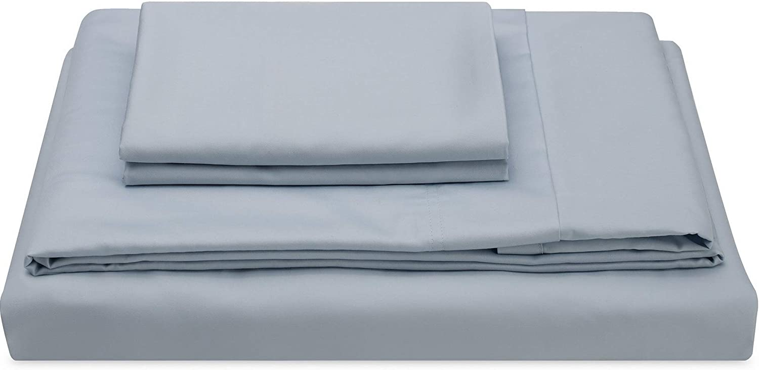 Molecule Bed Sheets with Cooling Cotton & Tencel Lyocell fibers Construction, Super Durable and Ultra Lustrous Silk/Satin Feel, Deep Pocket Sheet Set (Powder Blue, King)