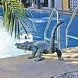 Design Toscano Gator on the Prowl Spitting Bronze Alligator Garden Statue, Verdigris