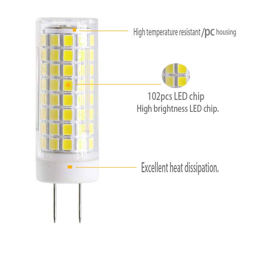 New G8 LED Bulb, Dimmable 7W G8 Bulb, GY8.6 75W Halogen Bulb Replacement, 120V G8 75Watt 750 LM (White Color) - - Amazon.com