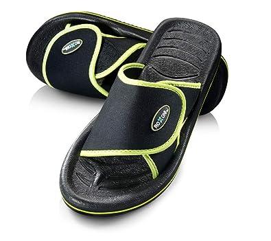 9168eddfd132 Image Unavailable. Image not available for. Color  Roxoni Men s Comfortable Non  Slip Flip Flop Shower Shoe Adjustable Beach ...