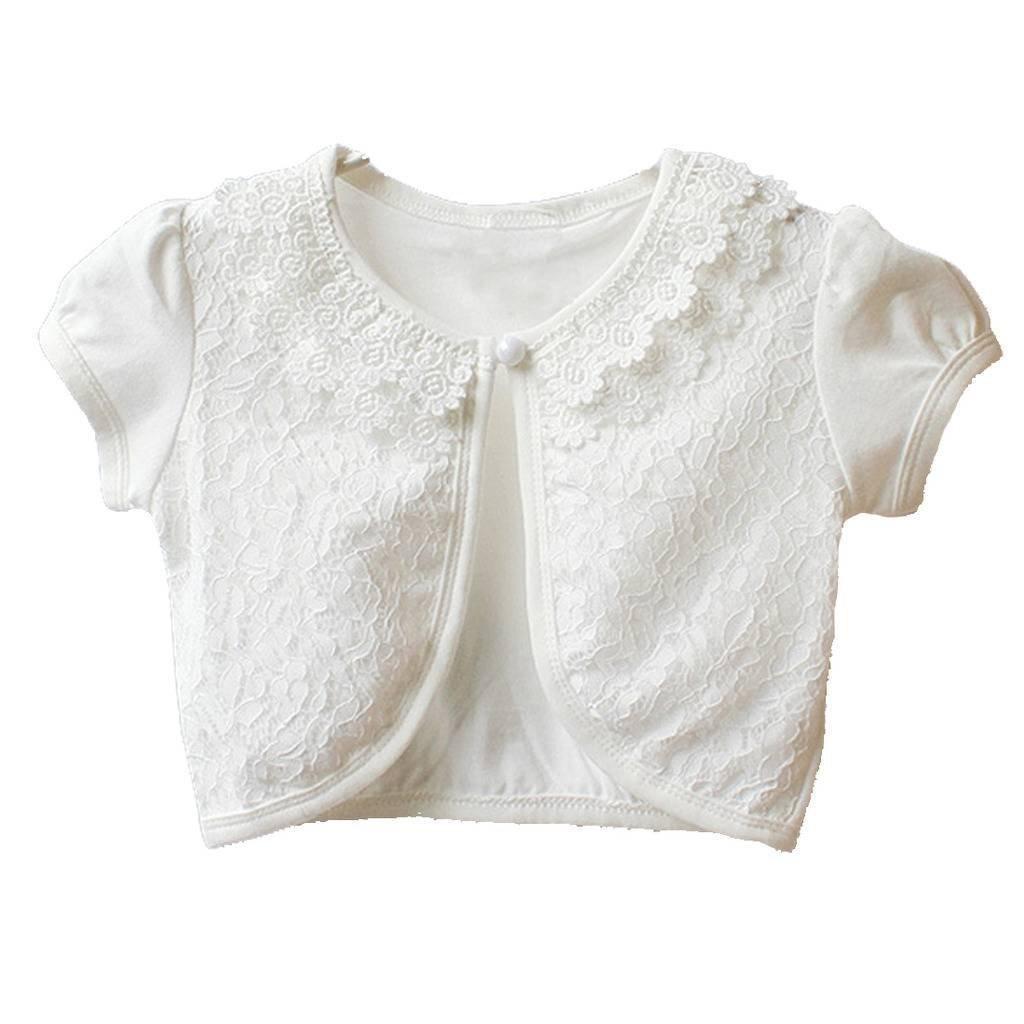 Happy Rose Little Girls' Lace Flower Short Sleeve Bolero Cardigan Shrug 8