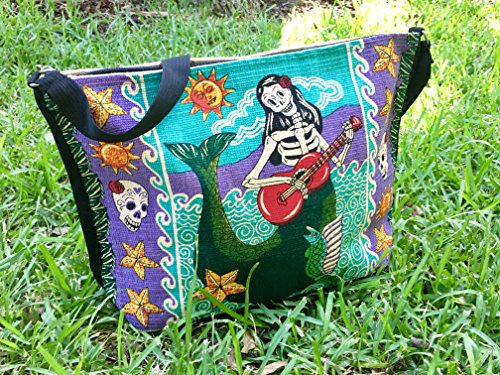 SpiritStar Sugar Skull Purse: Day of the Dead Inspired Daily Travel Bag Made with 100% Washable Cotton (Mermaid) by Spirit Quest Supplies (Image #3)