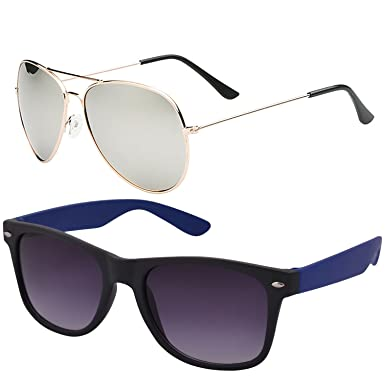 837386e601b SHEOMY COMBO OF STYLISH GOLDEN SILVER MERCURY AVIATOR AND BLUE WAYFARER  SUNGLASSES WITH 2 BOX Best Online Gifts  Amazon.in  Clothing   Accessories