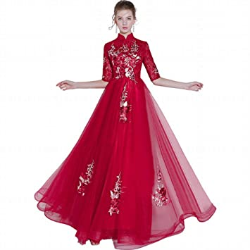 YT-RE Vino Rojo Vestido de Novia de la Boda Vestido de Noche Medio Vestido