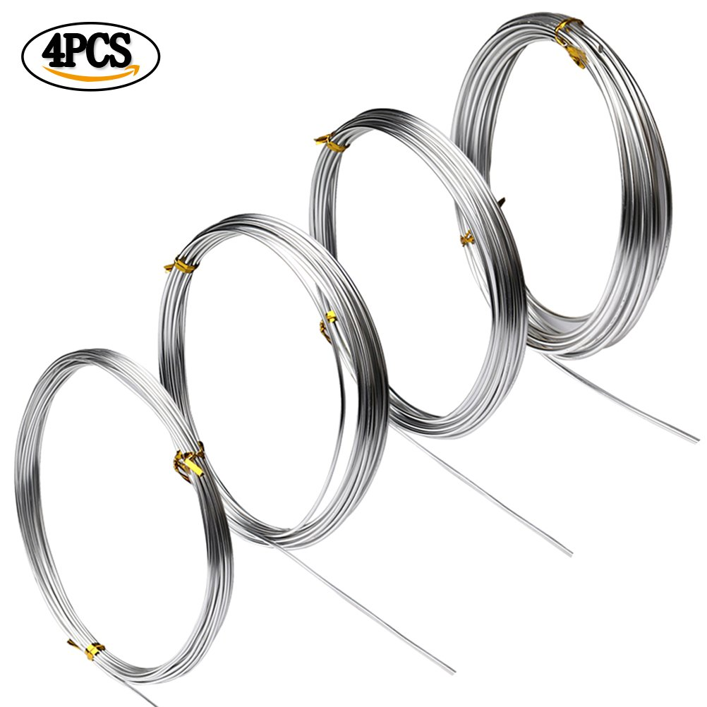 Hugesavings 4 Rolls Aluminum Craft Wire, 4 Sizes Silver Bendable Metal Wire for DIY Sculpture and Crafts, Each Roll 16.4 Feet 4336900346