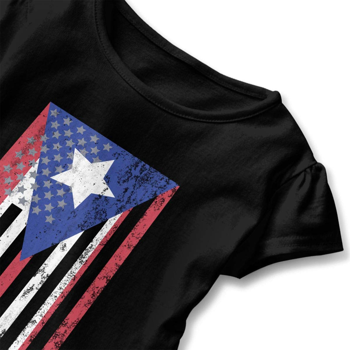 Puerto Rico American Flag Childrens Girls Short Sleeve T-Shirts Ruffles Shirt Tee Jersey for 2-6T