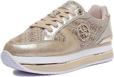 Guess Sneakers Donna Pelle Oro e Tessuto logato Beige. Fondo